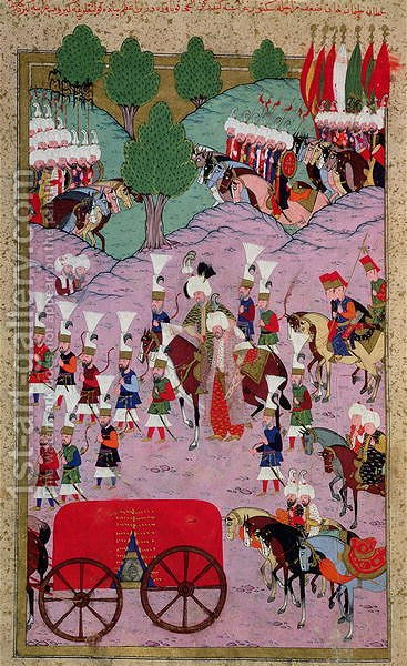 TSM H.1524 Hunername The Army of Suleyman the Magnificent 1494-1566 Leave for Europe, from the Book of Excellence by Lokman, 1588 by I the Magnificent Suleyman - Reproduction Oil Painting