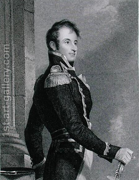 Stephen Decatur 1779-1820, engraved by Asher Brown Durand 1796-1886 after a copy of the original by James Herring 1794-1867 by (after) Sully, Thomas - Reproduction Oil Painting