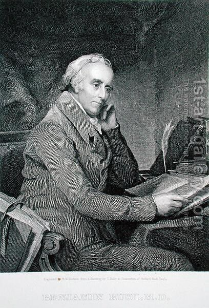 Benjamin Rush, engraved by Richard W. Dodson 1812-67 by (after) Sully, Thomas - Reproduction Oil Painting