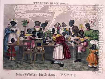 Miss Whites Birthday Party, from Tregears Black Jokes, by Hunt, published by T.S. Tregear, London, 1834 by (after) Summers, W. - Reproduction Oil Painting