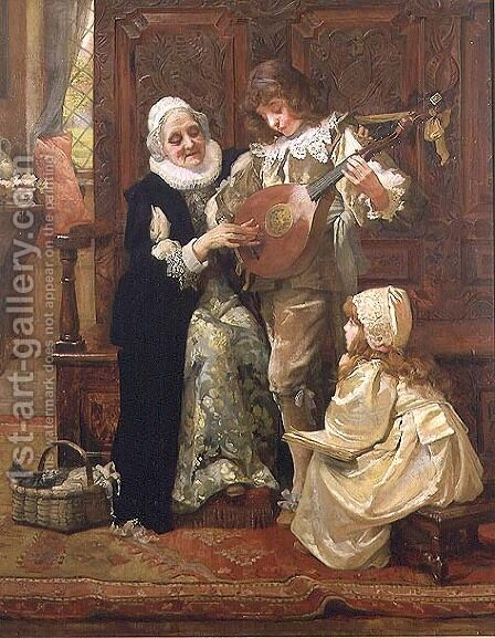 His First Music Lesson by Hariette Sutcliffe - Reproduction Oil Painting