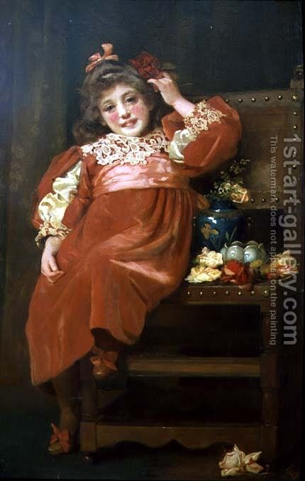 A full length portrait of a pretty young girl in a red dress, reclining in a chair by Hariette Sutcliffe - Reproduction Oil Painting