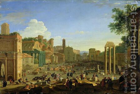 View of the Campo Vaccino in Rome, c.1631 by Herman Van Swanevelt - Reproduction Oil Painting