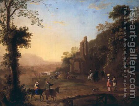 Landscape with ruins and passersby by Herman Van Swanevelt - Reproduction Oil Painting