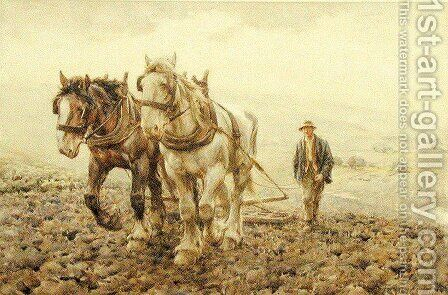 Harrowing on the South Downs near Willmington, Sussex by Harold Swanwick - Reproduction Oil Painting