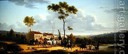 Travellers on Horseback in a Landscape by Bernard Edouard Swebach - Reproduction Oil Painting