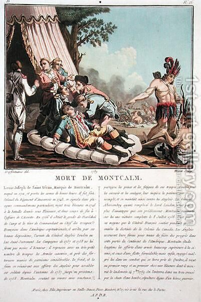 Death of Louis Joseph de Montcalm at the Siege of Quebec, 1759, engraved by Jean Baptiste Morret fl.1790-1820, 1789 by (after) Swebach, Jacques Francois Joseph - Reproduction Oil Painting