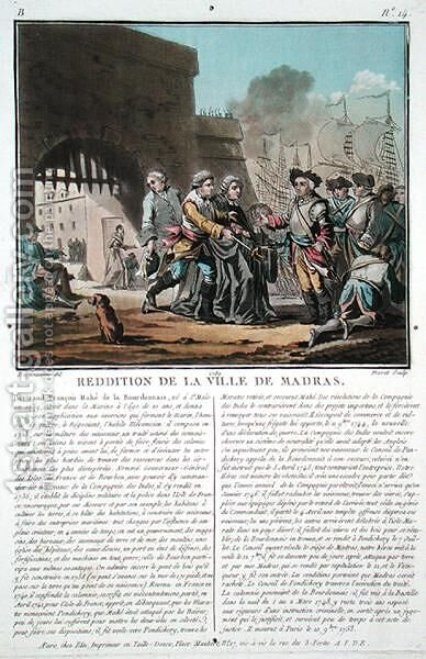 Surrender of the city of Madras, 1746, engraved by Jean Baptiste Morret f.1790-1820, 1789 by (after) Swebach, Jacques Francois Joseph - Reproduction Oil Painting