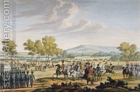 The Imperial Guard Manoeuvring in the Presence of the Two Emperors at Tilsit, 28 June 1807, engraved by Edme Bovinet 1767-1832 by (after) Swebach, Jacques Francois Joseph - Reproduction Oil Painting