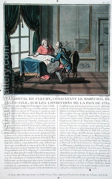 Cardinal de Fleury 1653-1743 consults with Marechal de Belle-Isle 1684-1761 on the conditions of the Peace, 1735, engraved by Jean Baptiste Morret fl.1790-1820, 1791 by (after) Swebach, Jacques Francois Joseph - Reproduction Oil Painting