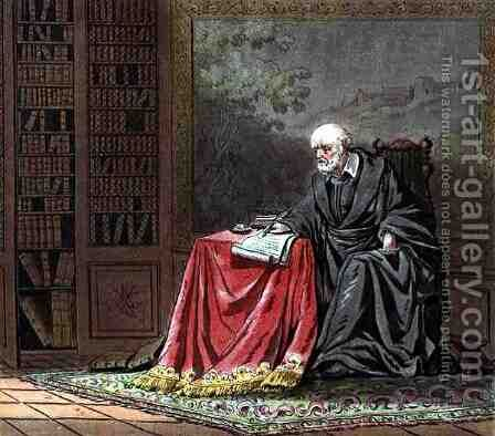 The Chancellor, Michel de lHopital c.1503-73 Composes the Edict of Romorantin, engraved by Jean Baptiste Morret fl. 1790-1820 1789 by (after) Swebach, Jacques Francois Joseph - Reproduction Oil Painting