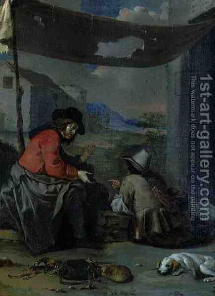 Two Figures Seated with a Dog by (attr. to) Sweerts, Michael - Reproduction Oil Painting