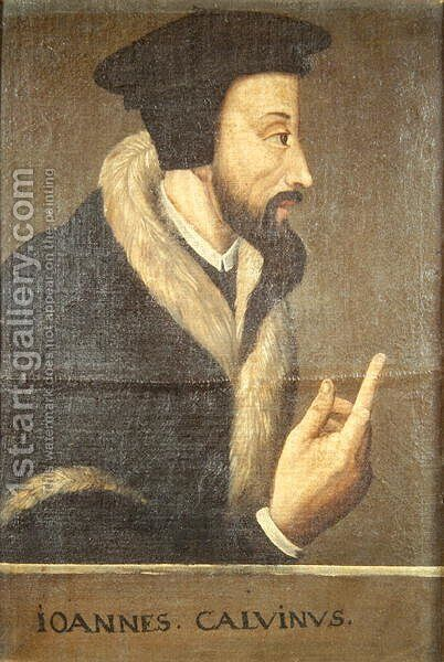 Portrait of John Calvin 1509-64 French theologian and reformer by Anonymous Artist - Reproduction Oil Painting