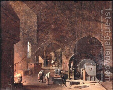 Interior of an Ironworks, c.1850-60 by Godfrey Sykes - Reproduction Oil Painting