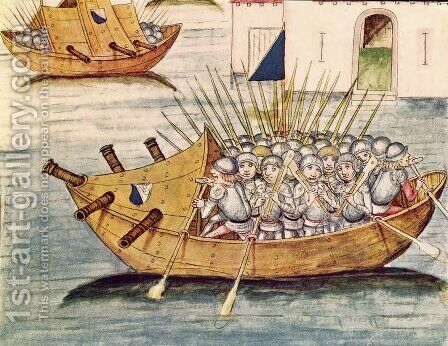 Soldiers armed with guns in a vessel with cannons, from the Berner Chronik, by Diebold Schilling the Elder c.1445-85 1483 by Anonymous Artist - Reproduction Oil Painting