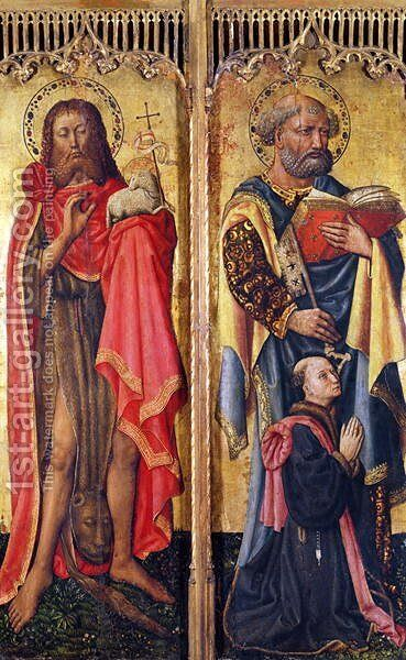 St. John the Baptist and St. Peter, from the Altarpiece of Pierre Rup, c.1450 by Anonymous Artist - Reproduction Oil Painting