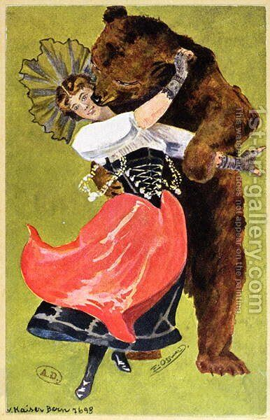 Postcard from Bern depicting a woman and a bear, c.1900 by Anonymous Artist - Reproduction Oil Painting