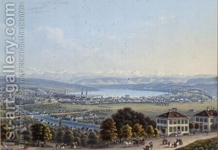 View of Zurich, c.1840 by Anonymous Artist - Reproduction Oil Painting