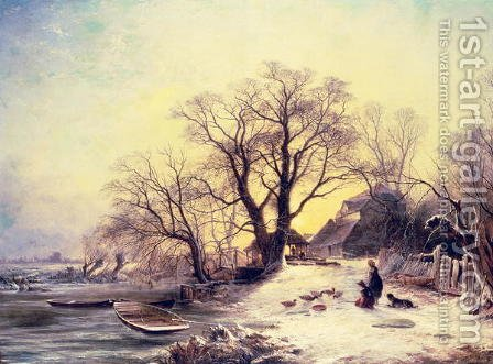 Figures outside a cottage in winter by Gustaf Fredrik Rydberg - Reproduction Oil Painting