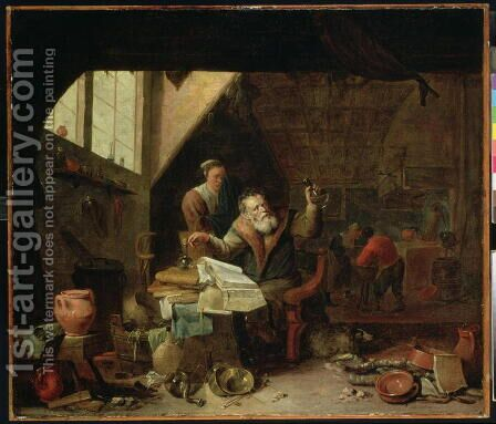 An Alchemist, c.1640 by David The Younger Ryckaert - Reproduction Oil Painting