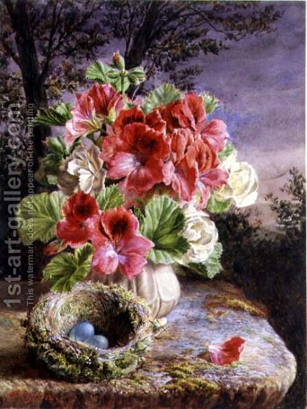 Gloxinia and Birds Nest by Claude Ryan - Reproduction Oil Painting
