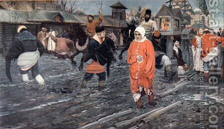 A Seventeenth Century Moscow Street on a Holiday, 1895 by Andrei Petrovich Ryabushkin - Reproduction Oil Painting