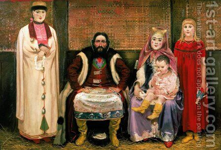 A Merchant and his Family in the Seventeenth Century, 1896 by Andrei Petrovich Ryabushkin - Reproduction Oil Painting