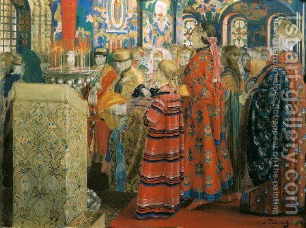 Seventeenth Century Russian Women at Church, 1899 by Andrei Petrovich Ryabushkin - Reproduction Oil Painting