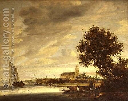 A river landscape with a ferry in the foreground, 1645 by (circle of) Ruysdael, Jacob Salomonsz. - Reproduction Oil Painting