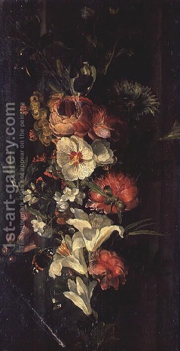 Still Life with Roses, Lilies and Other Flowers by (circle of) Ruysch, Rachel - Reproduction Oil Painting