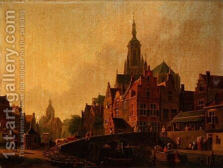 A Dutch Town Scene by Jan Rutten - Reproduction Oil Painting