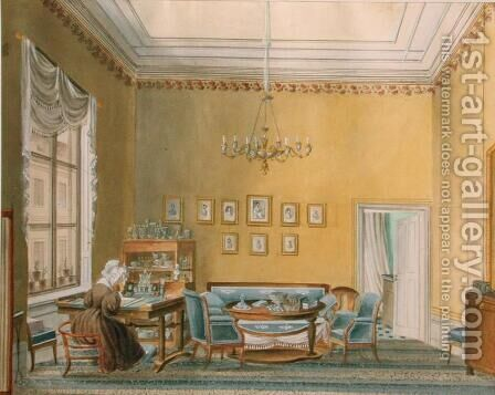 Interior of Boratynskys House in Moscow, 1830s by Anonymous Artist - Reproduction Oil Painting