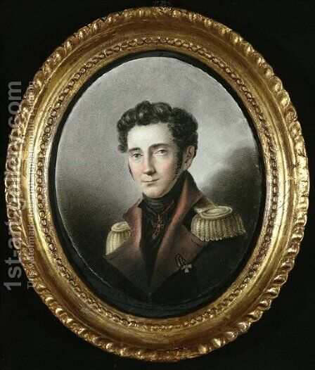 Portrait of a Russian Officer, 1818 by Anonymous Artist - Reproduction Oil Painting