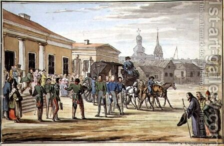 Russian Soldiers Arriving at Krasnoy, 1818 by Anonymous Artist - Reproduction Oil Painting