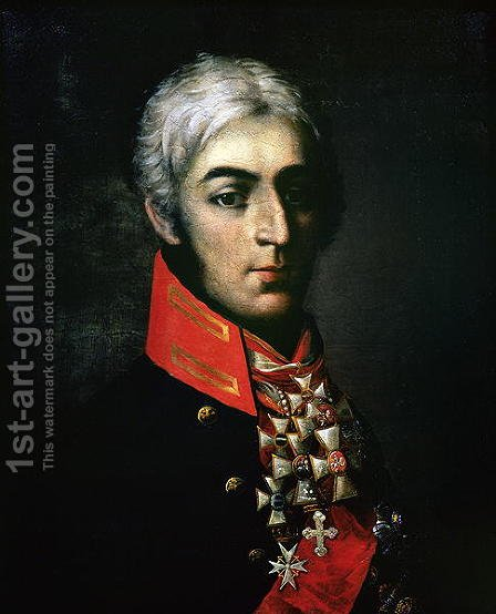 Portrait of Prince Peter Bagration 1765-1812 Russian general by Anonymous Artist - Reproduction Oil Painting