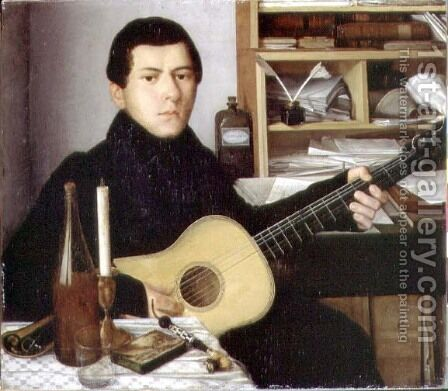 Portrait of a Young Man with a Guitar, c.1830 by Anonymous Artist - Reproduction Oil Painting