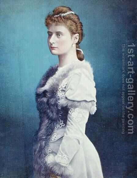 Portrait of Tsarina Alexandra Feodorovna 1872-1918 c.1898 by Anonymous Artist - Reproduction Oil Painting