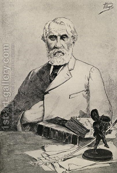 Ivan Turgenev by Anonymous Artist - Reproduction Oil Painting