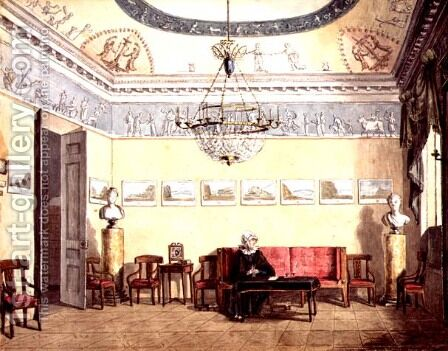 Neo-Classical Sitting Room, 1820 by Anonymous Artist - Reproduction Oil Painting