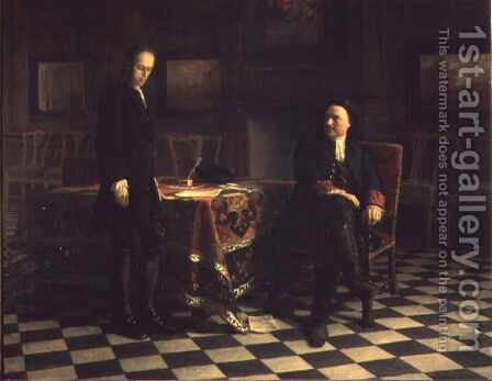 Peter I interrogating Tsetarevitch Aleksei Petrovich in Petershof, 1871 by Anonymous Artist - Reproduction Oil Painting