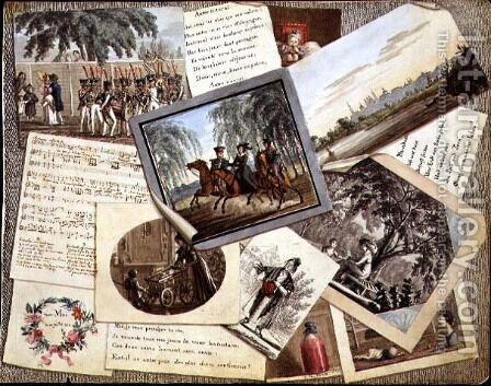 Trompe loeil collage of sheet music, greeting cards and poems, c.1821 by Anonymous Artist - Reproduction Oil Painting