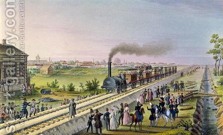 Opening of the First Railway Line from Tsarskoe Selo to Pavlovsk in 1837 by Anonymous Artist - Reproduction Oil Painting