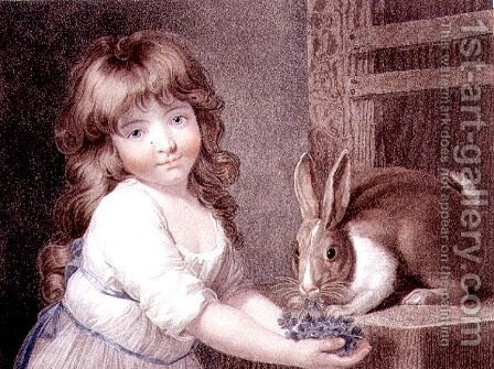 The Favourite Rabbit, engraved and pub. by Charles Knight 1743-c.1826 1792 by (after) Russell, John - Reproduction Oil Painting