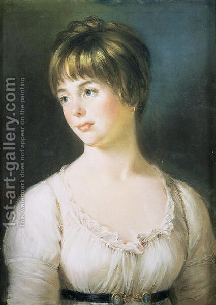 Portrait of a Young Girl, c.1780 by (attr. to) Russell, John - Reproduction Oil Painting