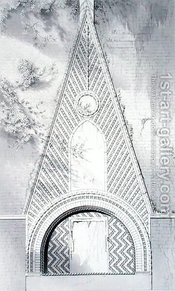 Door Heads, In Campiello della Chiesa, San Luca, from Examples of the Architecture of Venice by John Ruskin, engraved by J.C. Armitage, 1851 by (after) Ruskin, John - Reproduction Oil Painting