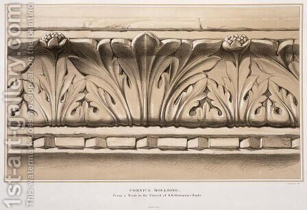 Cornice Moulding, From a Tomb in the Church of S.S. Giovanni e Paolo, from Examples of the Architecture of Venice by John Ruskin, engraved by G. Rosenthal, 1851 by (after) Ruskin, John - Reproduction Oil Painting