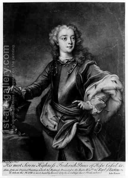 Portrait of Frederick II 1720-1785, Landgrave of Hesse-Cassel, engraved by John Simon by Cavaliere Carlo Francesco Rusca - Reproduction Oil Painting
