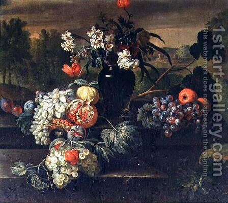 Still Life of Flowers and Fruit by (circle of) Ruoppolo, Giovanni-Battista - Reproduction Oil Painting