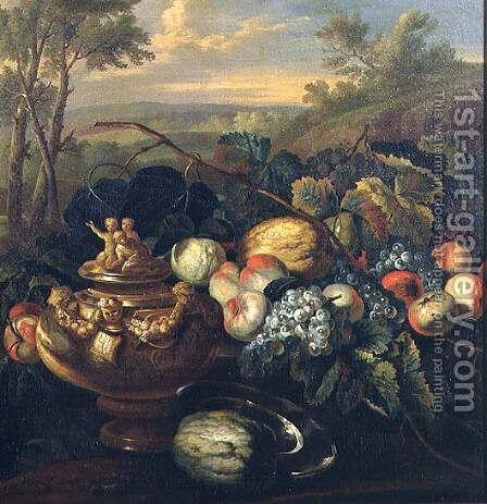 Urn and Fruit in a Landscape by (circle of) Ruoppolo, Giovanni-Battista - Reproduction Oil Painting