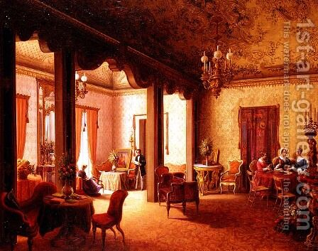 Interior of the Salon of Tsarina Alexandra in the Villa des Herzogs Serradifalco, Palermo by Carl Ludwig Rundt - Reproduction Oil Painting